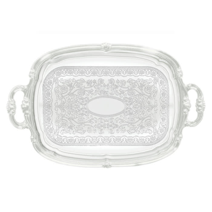 """Winco CMT-1912 Oblong Serving Tray, Chrome-Plated, Gadroon Edge w/ Engraving, 19.5 x 12.5"""""""