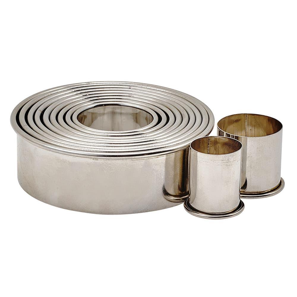 Winco CST-2 11 Piece Round Cookie Cutter Set w/ Storage Container, Stainless Steel