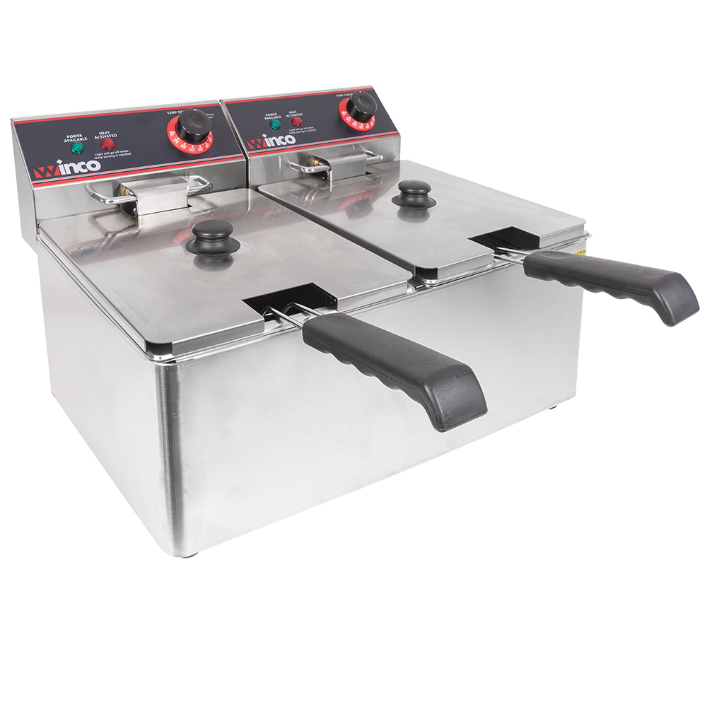 Winco EFT-32 Countertop Electric Fryer - (2) 32-lb Vat, 120v