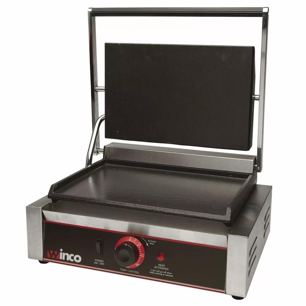Winco ESG-1 Commercial Panini Press w/ Cast Iron Smooth Plates, 120v