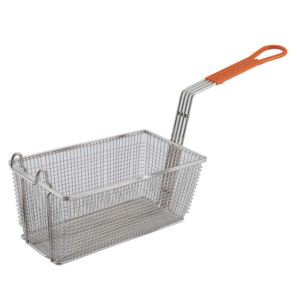"Winco FB-10 Fryer Basket w/ Coated Handle & Front Hook, 12.125"" x 5.375"" x 6"""