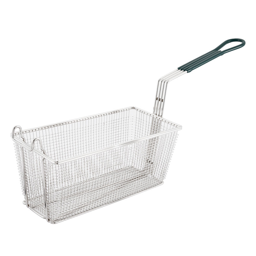 "Winco FB-30 Fryer Basket w/ Coated Handle & Front Hook, 13.25"" x 6.5"" x 6"""
