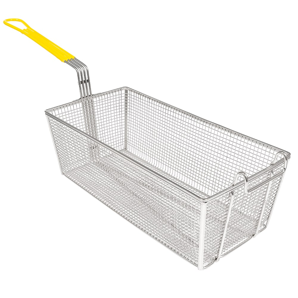 "Winco FB-40 Fryer Basket w/ Coated Handle & Front Hook, 17"" x 8.25"" x 6"""