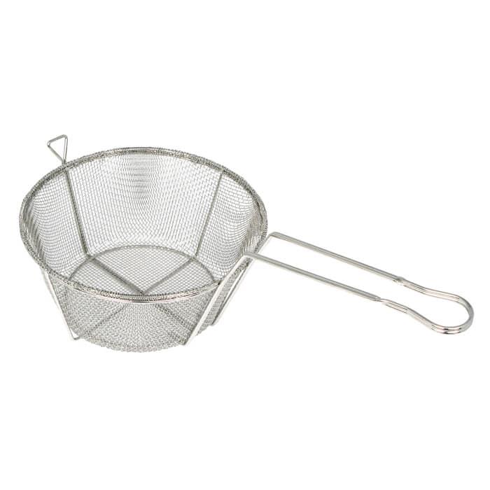 "Winco FBRS-8 8.5"" Round Fryer Basket, Nickel Plated"