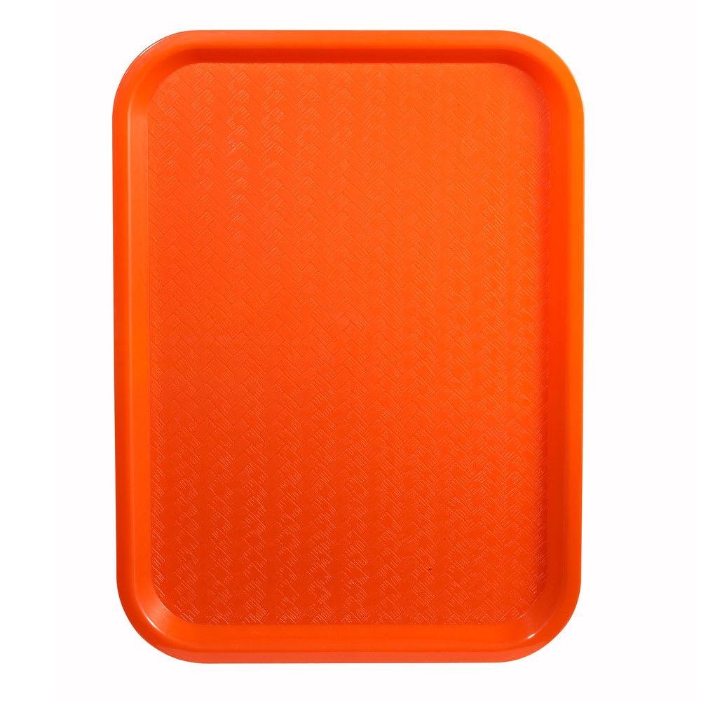 """Winco FFT-1418O Plastic Fast Food Tray - 18""""L x 14""""W, Orange"""