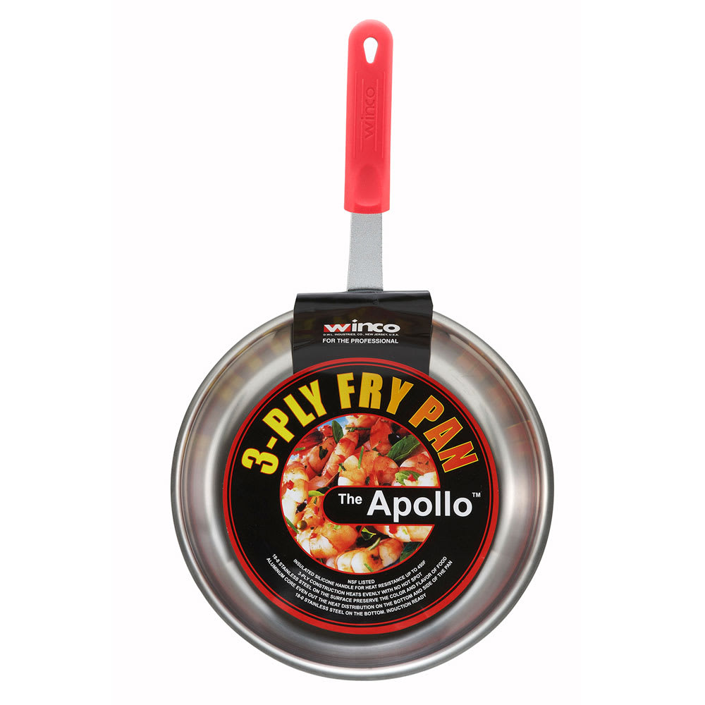 """Winco FPT3-12 12"""" Stainless Steel Frying Pan w/ Solid Silicone Handle"""