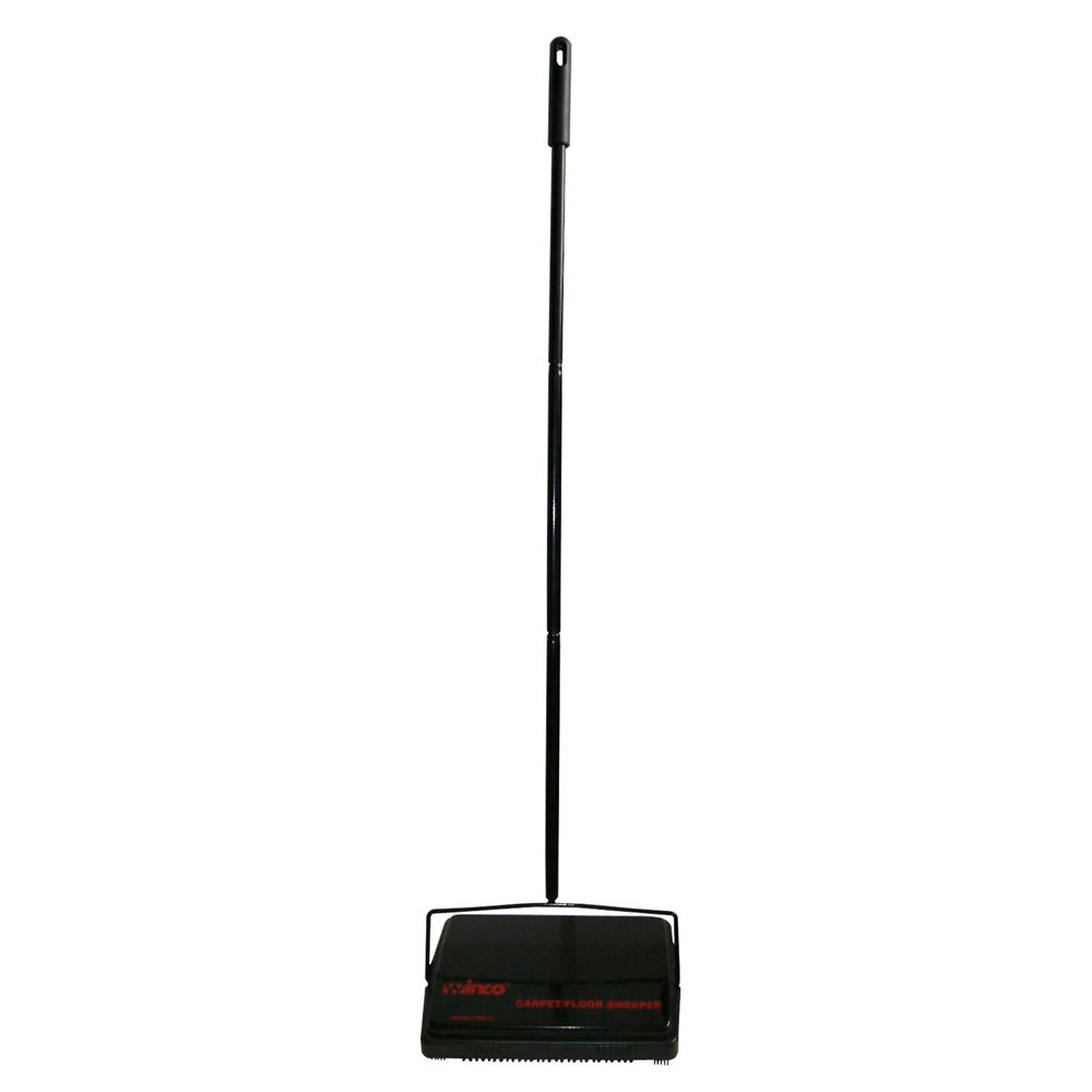 Winco FSW-11 Rotary Carpet Sweeper w/ Steel Handle & Natural Bristles, 3.5 x 4 x 8""