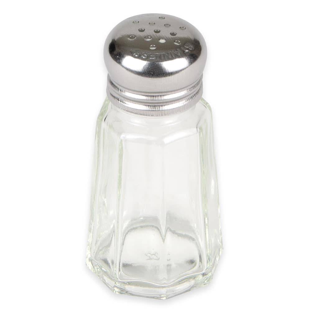 Winco G-105 1-oz Shaker for Salt/Pepper - Metal Lid, Paneled