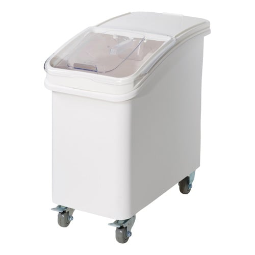 Winco IB-27 27 ga Ingredient Bin w/ Clear Plastic Cover, Clasp Sliding Lid & Scoop, White