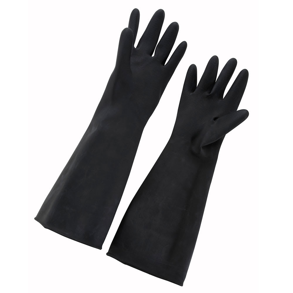 "Winco NLG-1018 Large Natural Latex Gloves, 10 x 18"", Black"