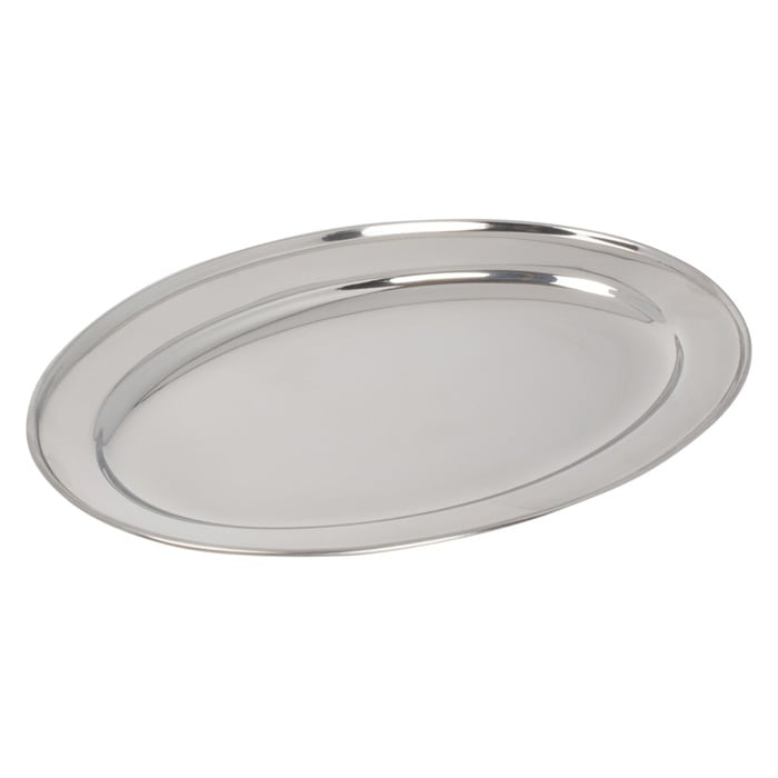"Winco OPL-18 Oval Platter, 18 x 11.5"", Heavy Stainless Steel"