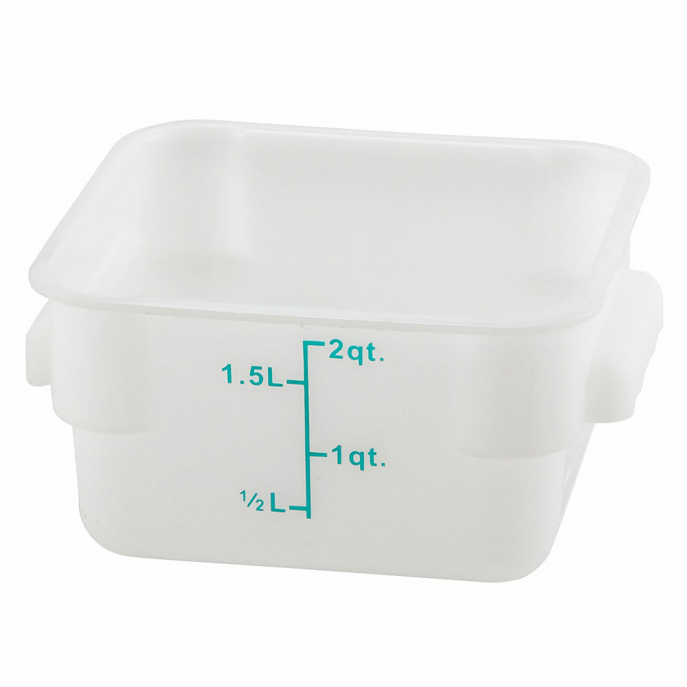 Winco PESC-2 2 qt Square Storage Container, Polyethylene, White
