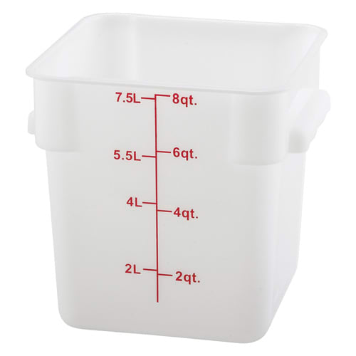 Winco PESC-8 8 qt Square Storage Container, Polyethylene, White
