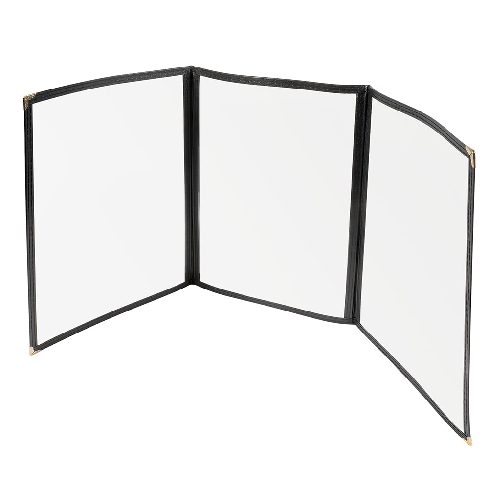"Winco PMCT-9K Tri-Fold Menu Cover, 9.5 x 12"", Black"
