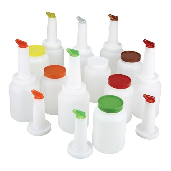 Winco PPB-1MX 1 qt Liquor & Juice Multi Pour Set w/ Assorted Color Spouts & Lids