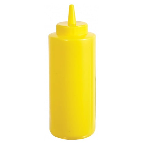 Winco PSB-12Y 12 oz Plastic Squeeze Bottle, Yellow