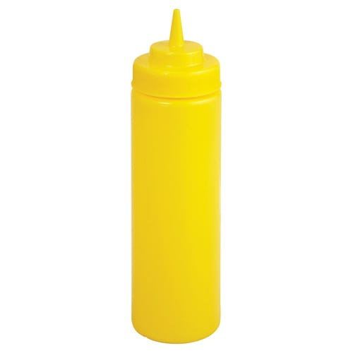Winco PSW-16Y 16 oz Plastic Squeeze Bottle, Wide Mouth, Yellow