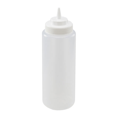 Winco PSW-32 32 oz Plastic Squeeze Bottle, Wide Mouth, Clear