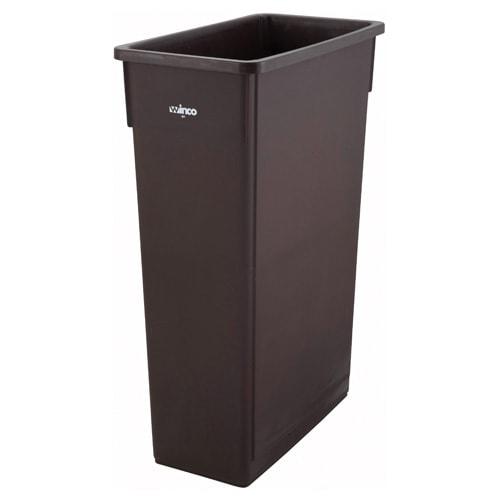 "Winco PTC-23B 23 gal Rectangle Slim Trash Can, 19.9""L x 11""W x 29.5""H, Brown"