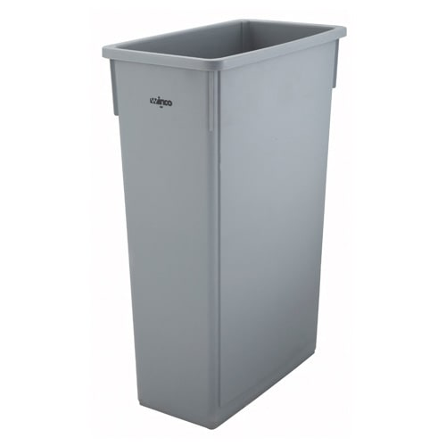 "Winco PTC-23SG 23 gal Rectangle Slim Trash Can, 19.9""L x 11""W x 29.5""H, Gray"