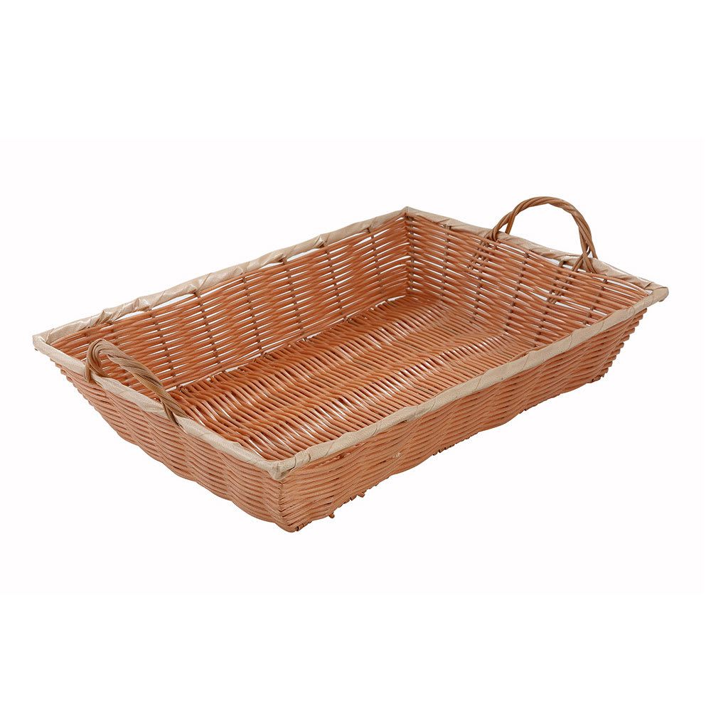 "Winco PWBN-16B Oblong Woven Basket w/ Handle, 16 x 11 x 3"", Poly, Natural"