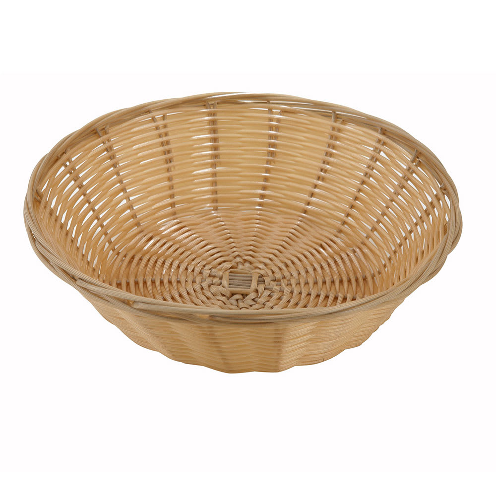 Winco PWBN-9R Round Woven Basket, Poly, Natural