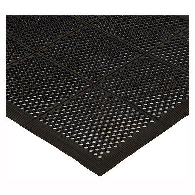 Winco RBMM-35K Rubber Floor Mat - 3x5-ft, Beveled Edges, Black