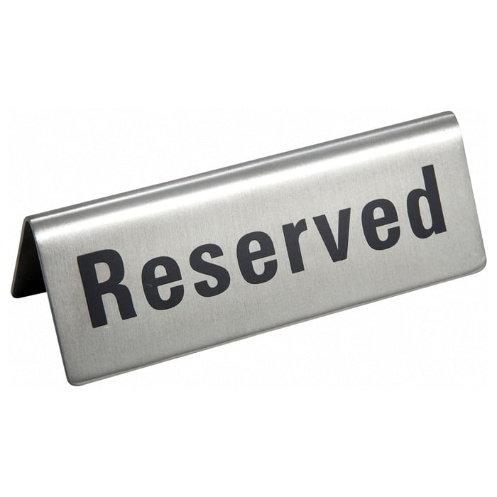 """Winco RVS-4 """"Reserved"""" Table Tent Sign - 4.75"""" x 1.75"""", Stainless"""