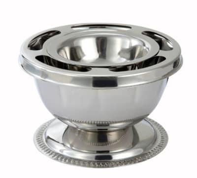 Winco SBC-1 3-Piece Supreme Bowl Set w/ Ring, Inner Bowl & Base, Stainless