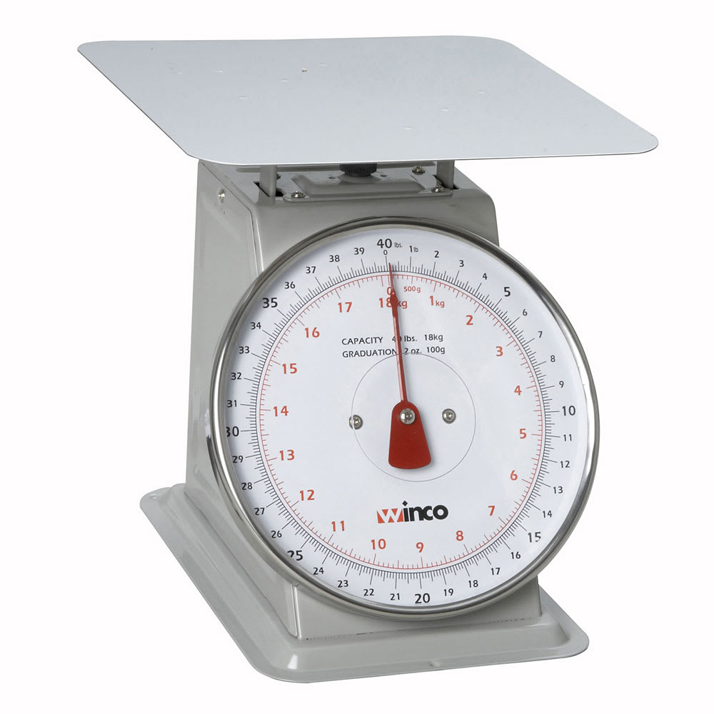 "Winco SCAL-840 40 lb Receiving Scale, 8"" Dial, Large Steel Platform"