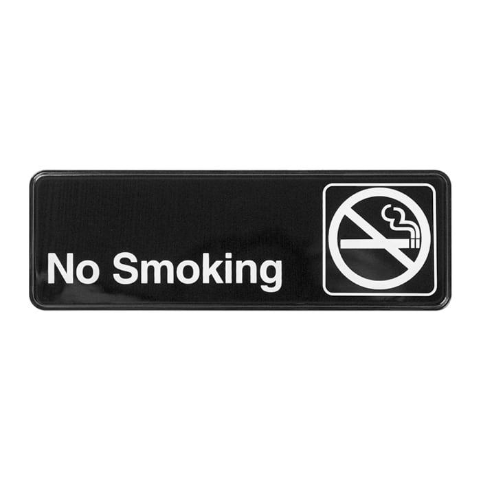 "Winco SGN-310 Information NO SMOKING Sign w/ Symbol, 3 x 9"", Black"