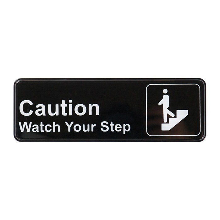 """Winco SGN-326 Information CAUTION/WATCH YOUR STEP Sign w/ Symbol, 3 x 9"""", Black"""