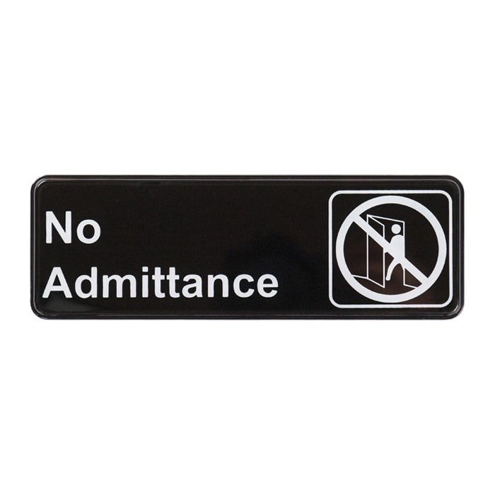 "Winco SGN-331 No Admittance Sign - 3"" x 9"", Black"