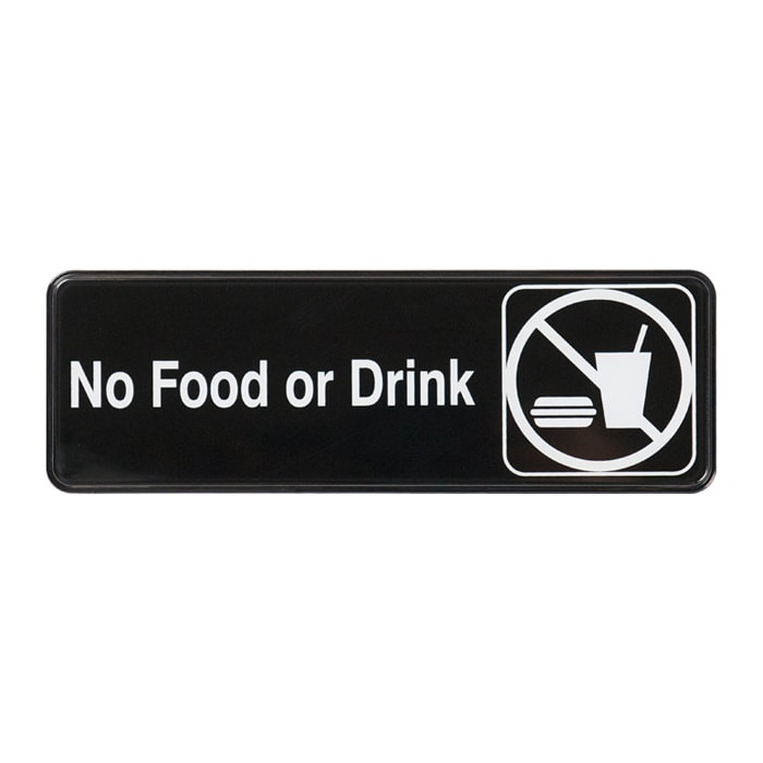 "Winco SGN-333 No Food or Drink Sign - 3"" x 9"", Black"