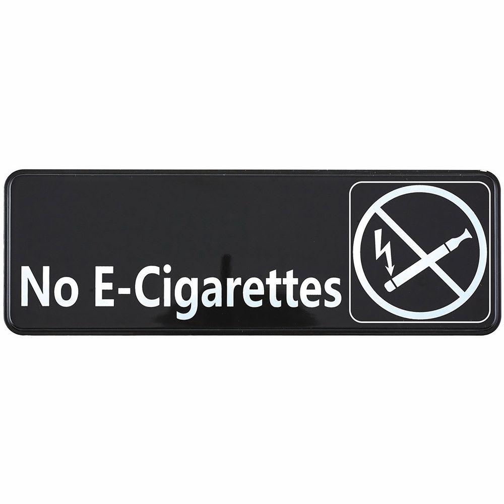 """Winco SGN-335 No E-Cigarettes Sign - 3"""" x 9"""", White on Black"""