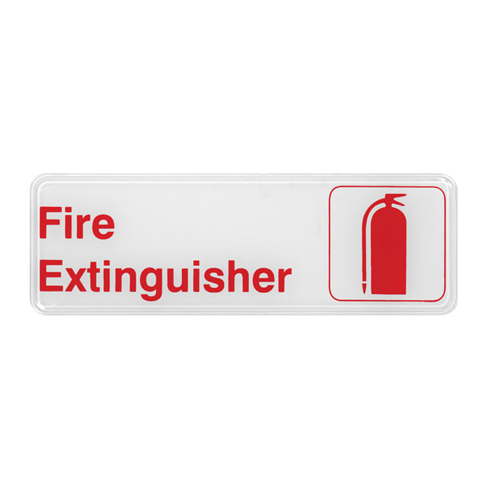 "Winco SGN-382W Fire Extinguisher Sign - 3"" X 9"", White"