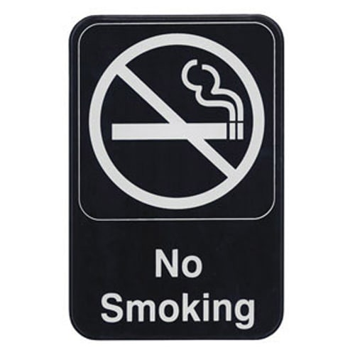 "Winco SGN-601 6"" X 9"" Sign - No Smoking - White Imprint on Black"
