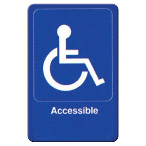 "Winco SGN-653B Accessible Sign - 6X9"", Blue"