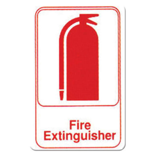 "Winco SGN-682W Fire Extinguisher Sign - 6"" x 9"", White"