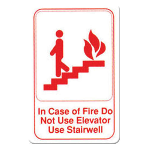 """Winco SGN-683W In Case of Fire Sign - 6"""" x 9"""", White"""