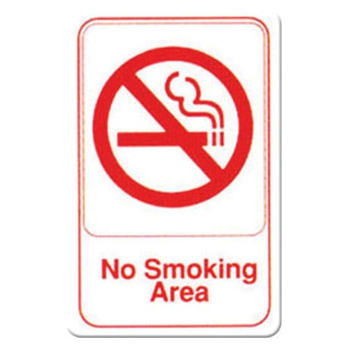 "Winco SGN-684W No Smoking Sign - 6x9"", White"