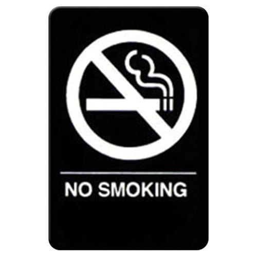 "Winco SGNB-601 No Smoking Sign, Braille - 6x9"", Black"