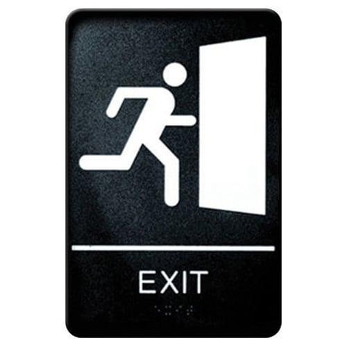 """Winco SGNB-604 Exit Sign, Braille - 6x9"""", Black"""