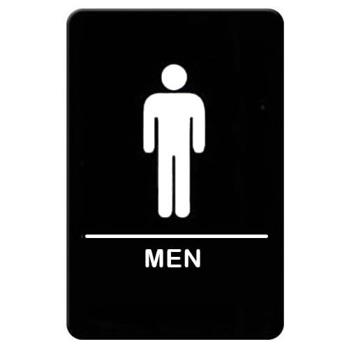 """Winco SGNB-605 Men Sign, Braille - 6x9"""", Black"""