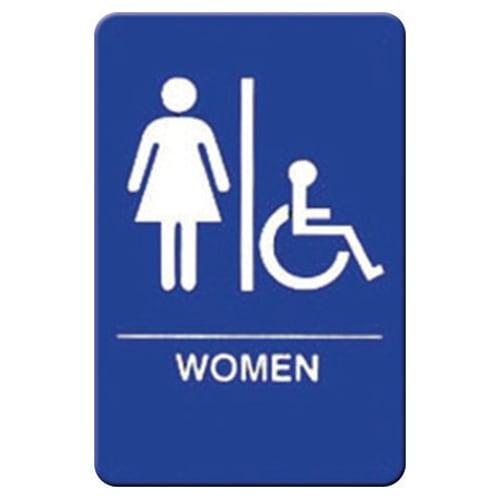 "Winco SGNB-651B Women/Accessible Sign, Braille - 6x9"", Blue"
