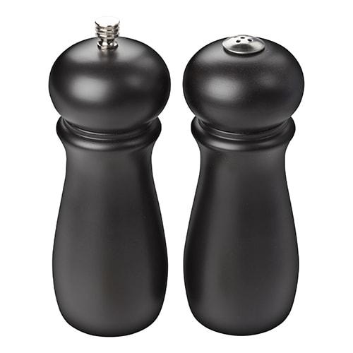 "Winco SP-612 6"" H Salt Shaker & Pepper Mill - Rubberwood, Black"