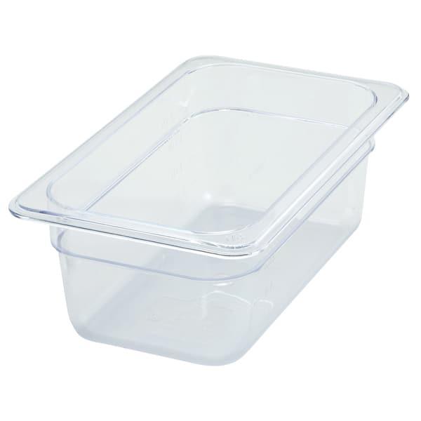 """Winco SP7404 1/4 Size Food Pan, 4"""" Deep, Break Resistant Polycarbonate"""