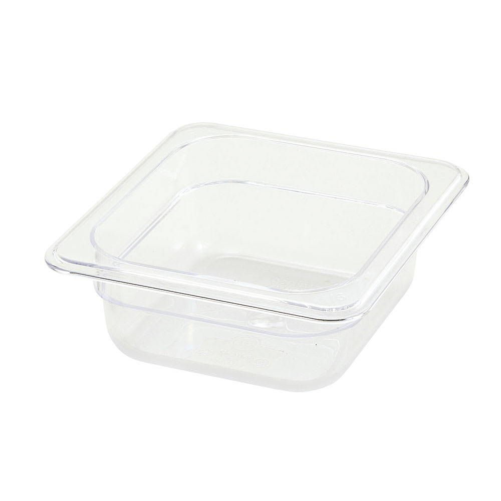 "Winco SP7602 1/6 Size Food Pan, 2.5"" Deep, Break Resistant Polycarbonate"