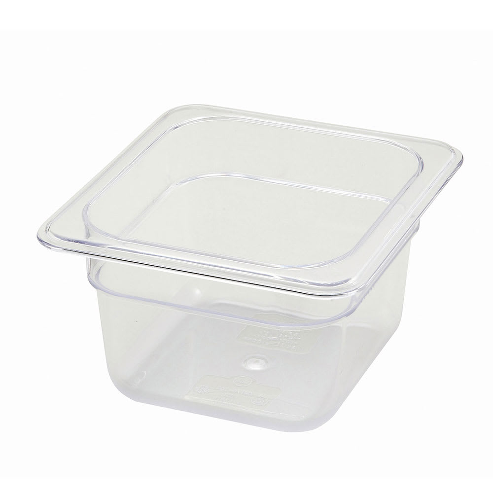 """Winco SP7604 Poly-Ware Food Pan, 1/6 Size, 4""""Deep, Polycarbonate, NSF"""