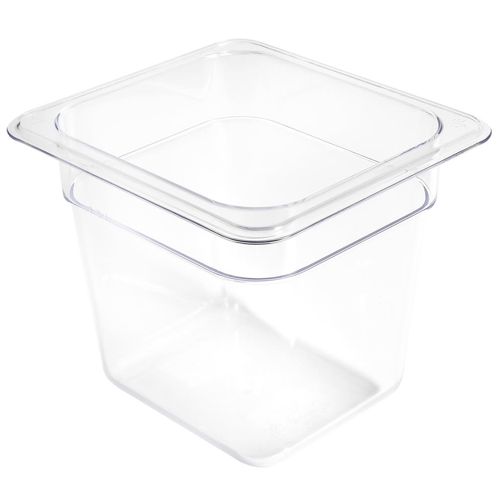 "Winco SP7606 1/6 Size Food Pan, 6"" Deep, Break Resistant Polycarbonate"